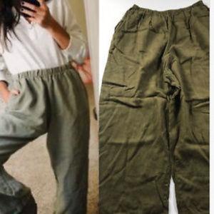 Flax Pants Olive Army Green Linen Medium Lagenlook